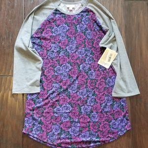 NWT Lularoe Randy Purple Floral Gray Sleeve